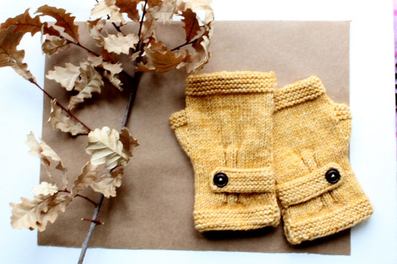 Halloween costume /Mustard Yellow/ Hand Knit Fingerless Gloves / Medium size fits most./  Autumn yellow colord