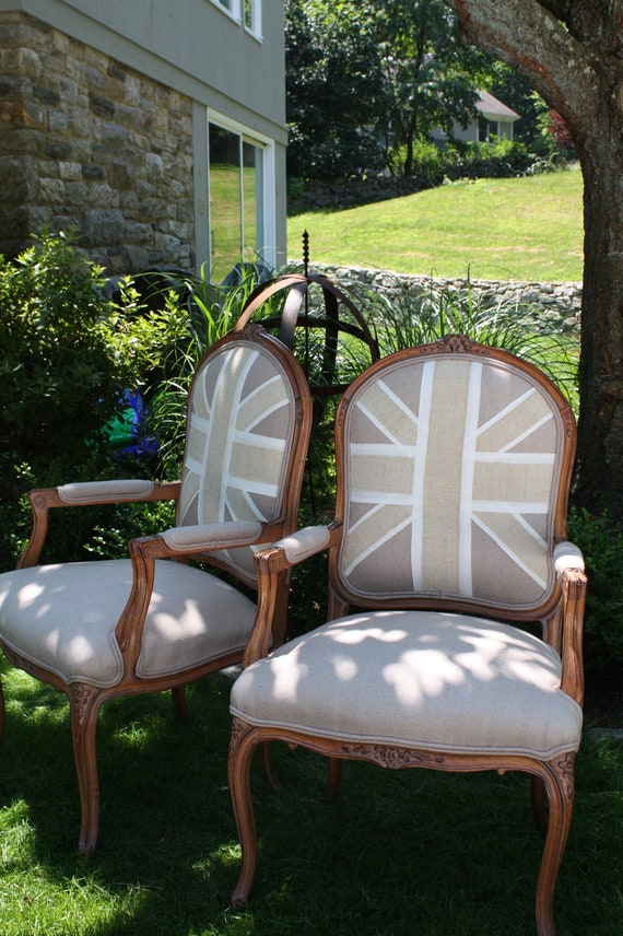 French Louis XV style chair with unique handmade Union Jack motifs  (PAIR AVAILABLE)