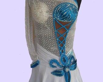 Dance Latin Dress White and Blue