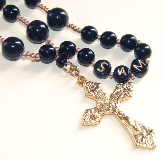 Custom Name Boy's Rosary in Black, Baptism First Communion Special Occasion Gift
