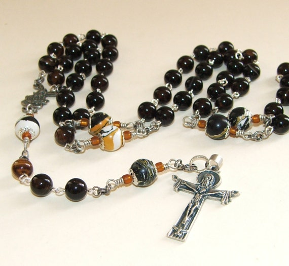 Rosary Beads, Balck Agate & Jasper, St Michael Center, Holy Trinity Crucifix