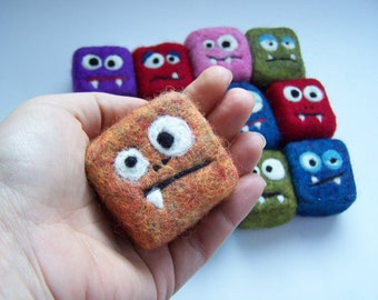 Felted soap mini monster - 12 RANDOM monsters