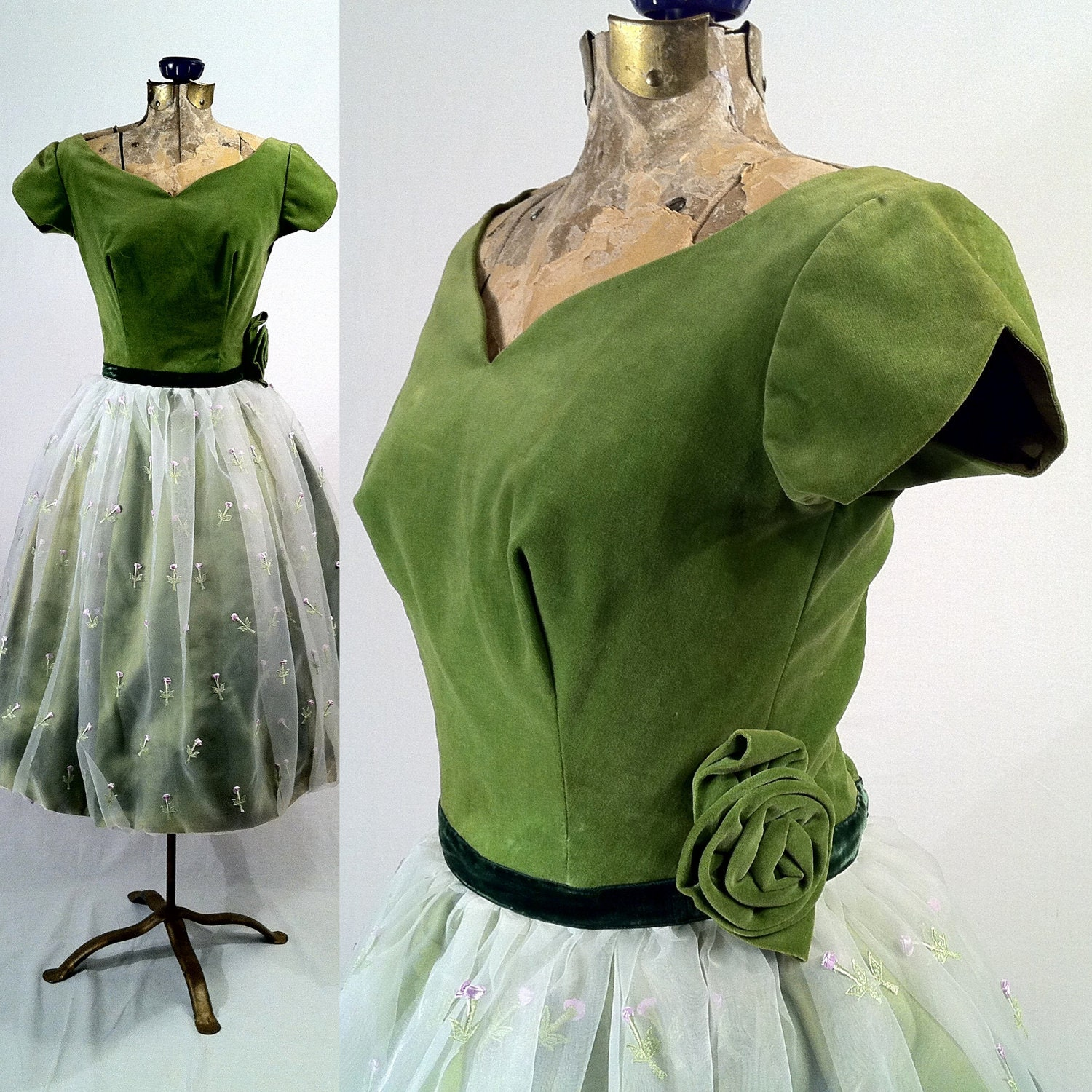 Vintage 1950s Green Velvet And White Organza Dress Upcycled
