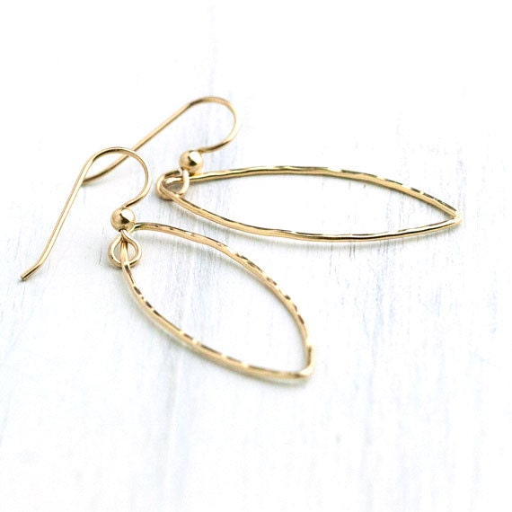BLACK FRIDAY ETSY - Hammered Gold Marquise Earrings / Long Minimal Dangle Earrings / Simple Jewelry by burnish