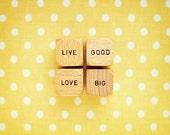 Live Good Love Big Photograph. Scrabble Print. Wall Art. Fine Art Photography. Nursery Art. Sunny Yellow. Polka Dots. Home Décor. Size A4