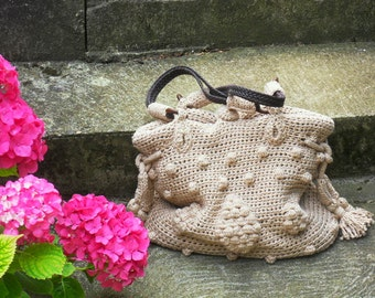 Crochet Bag Pattern, crochet tote bag with bobbles pattern
