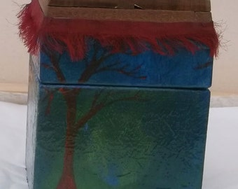 Red tree blue wooden topped box