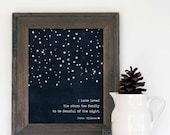 Digital Art Print I Have Loved the Stars Too Fondly To Be Fearful of the Night Poster Navy Blue Stars Modern Galileo Inspired Quote Print - hairbrainedschemes