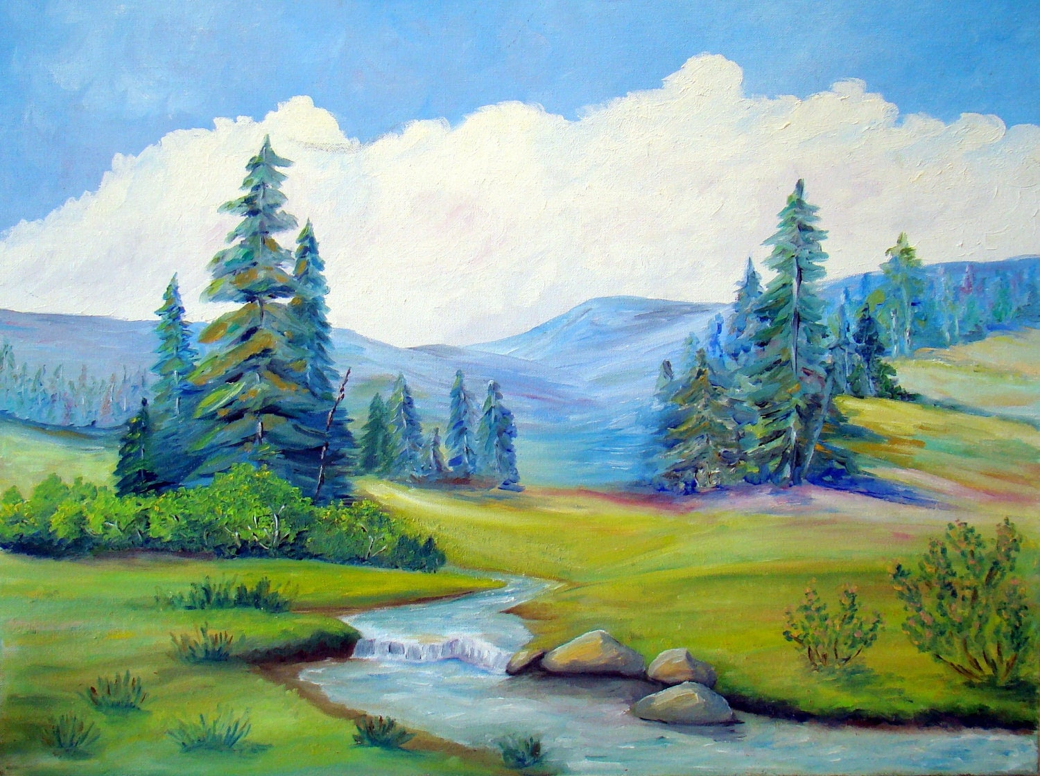 Vintage landscape painting mountains trees stream by vintageflip