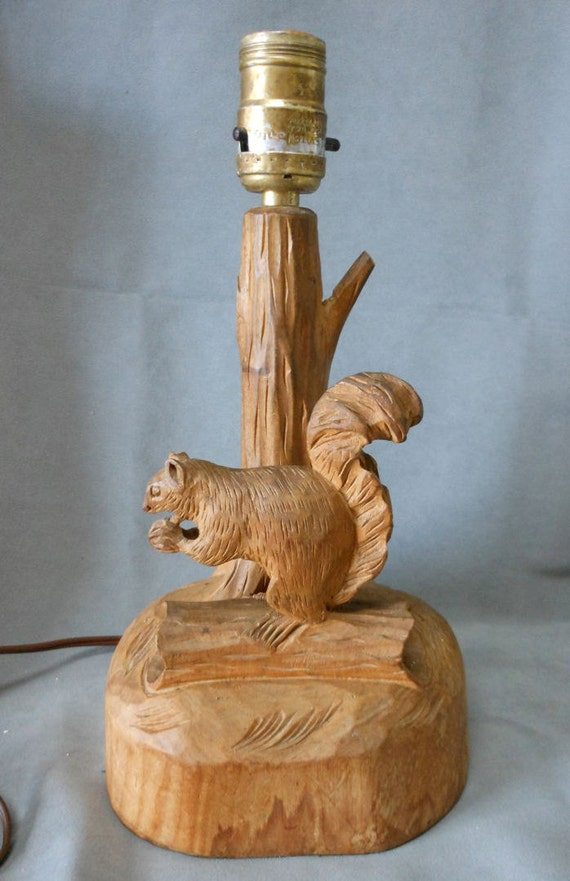 Vintage Hand Carved Wood Squirrel Lamp Signed Glenmont Dube