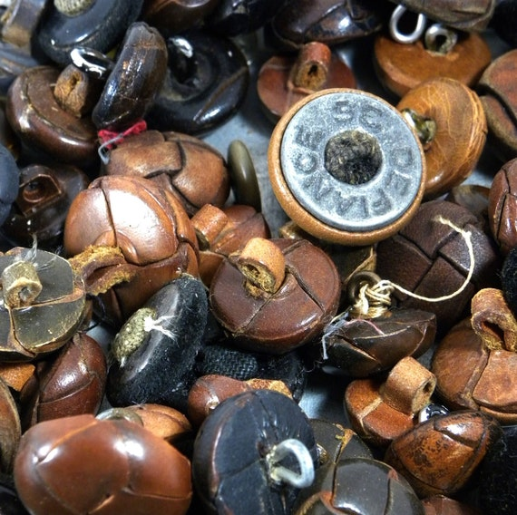 Vintage Leather Button Lot -of over 75 buttons