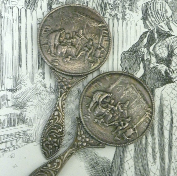 "Set of Two Silver Plated ""Cracker and Barrel"" Pattern Hand/Purse Mirrors from DENMARK"