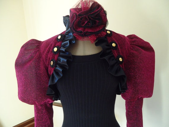 Effie Trinket Steampunk Victorian puff sleeve shrug fuschia lurex / black satin / matching choker /ready to ship