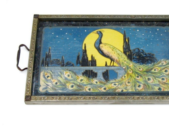 Vintage Peacock Tray: Stunning Art Nouveau Peacock Litho in Ornate Frame