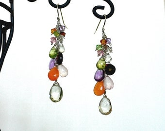 Multi-color Gemstone Briolette and Swarovski Crystal Cluster Earrings
