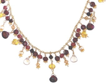 Elegant Garnet, Freshwater Pearl & Crystal Bib Necklace