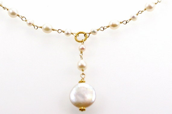 Bridal/Bridesmaid- Freshwater Rounds and Flat coin Drop Pendant Vermeil Necklace
