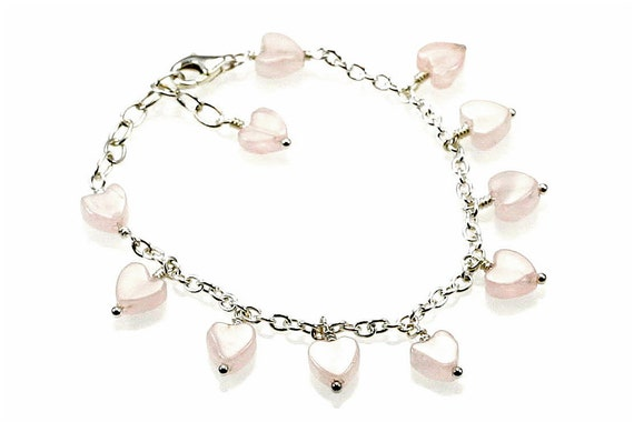 Girl's Sterling Silver and Rose Quartz Dangling Heart Bracelet