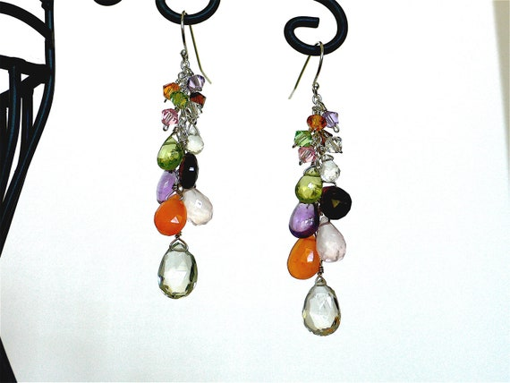 Multi-color Gemstone Briolette and Swarovski Crystal Cluster Earrings