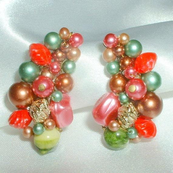 Vintage Multi Color Bead Cluster Earrings