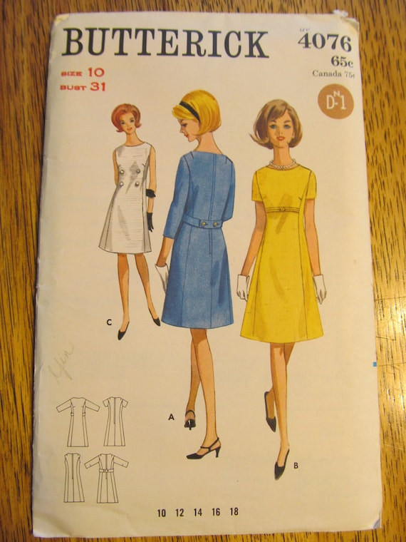 VINTAGE Sewing Pattern - 1960s Slimming MOD Belted Dress - Size 10 - Butterick 4076