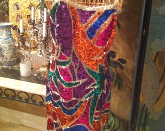 A  Fabulous Beaded Sequin Cocktail Dress with Abstract Design in bright color theme