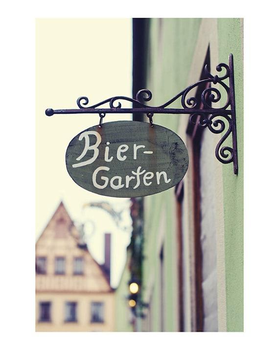 germany biergarten sign photograph - original fine art photography, cream, purple, green, oktoberfest, europe - 8x10