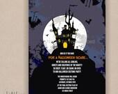 Haunted House Halloween Invitation- Printable 5x7 Full Moon, and Bats