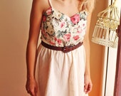 Corpset Handmade beige lace floral pink and cotton dress with elastic waist