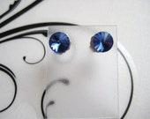 24ss Swarovski Rivoli Rhinestone Sapphire Blue Post Earrings 1 Pair
