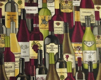 Wine Bottles With Names Cotton Fabric Fat Quarter Or Custom Listing
