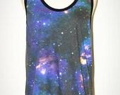 Star Cluster Universe  Black Tank Top Singlet Sleeveless Photo Transfer Punk Rock T-Shirt Size L