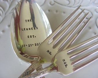 Hand Stamped Wedding Silverware Mr and Mrs Stamped Dinner Forks With Wedding Date Spoon