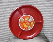 Cheese Board or Party Tray / Serving Platter Red with Ceramic Tile in the Middle - 13 inches - 1960s Retro Kitchen Decor in Original Box