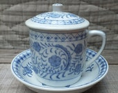 Tea or Coffee Mug with Lid and Saucer - Blue and White Floral Design - Hand Painted Ceramic Cup - Asian Design