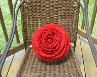 Beautiful Tie Dyed Red Rose on a Olive Green Pillow