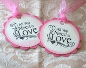 Gift Tags ( set of 6 ) , elegant,  Great for Gifts , bridal shower favors, pink, ivory