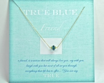 Blue Topaz Necklace/ Gift with Card/ True Blue Friend Gift Ideas/ Matron of Honor Gift Ideas, Wedding Party Ideas, Something Blue Necklace