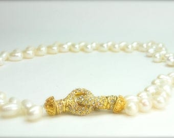 Gold Eternity Pearl Bridal Necklace, Bridal Necklace,  Statement Jewelry Bride