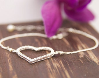 Heart Cz Jewelry, Bridal Wedding Jewelry, Thank You Bridesmaid Gifts, Heart Bracelets, Bridesmaid Heart Gifts