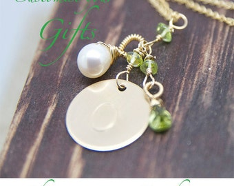Peridot Personalized Initial Gemstone Necklace Handcrafted by Bare and Me on Etsy/ August Birthday Gifts/ Peridot Birthday Gifts/ Birthday