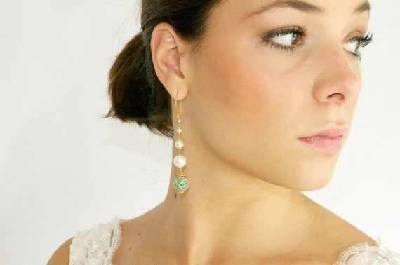 Turquoise and Pearl Bohemian Bridal Earrings Handcrafted by Bare and Me on Etsy/ Bohemian Bridal Earrings/ Pearl Statement Bridal Earrings