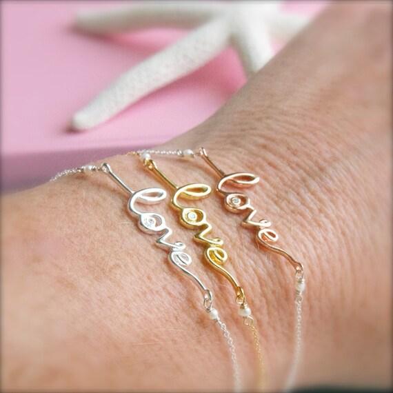 Gold And Silver Bracelets: Rose Gold Vermeil Love Bracelets/Rose Gold Jewelry/Sterling