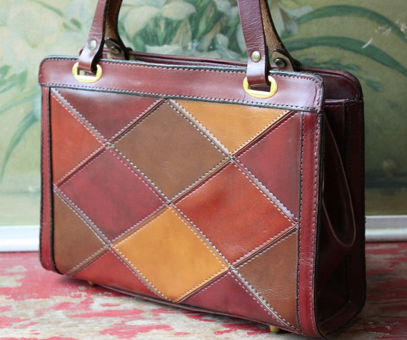 1960's Patchwork Leather Autumn Inspired Kelly Bag