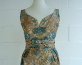 "1960's vintage watercolor cocktail dress Mad Men fits 37-38"" bust"