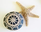 Hand crochet lace stone, rustic starflower, natural lace, dark turquoise river rock, housewarming gift shabby chic wedding party decor
