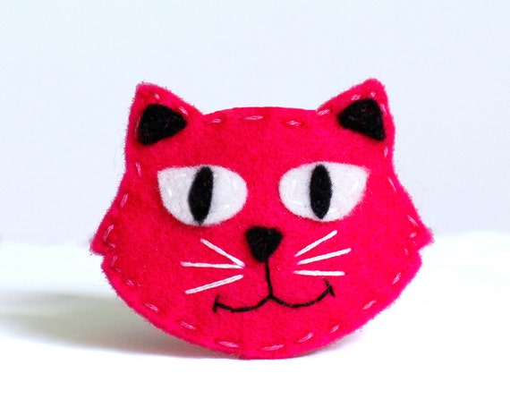 Girls Hair Clip: Vandy the Pink and Black Kitty Cat Clip