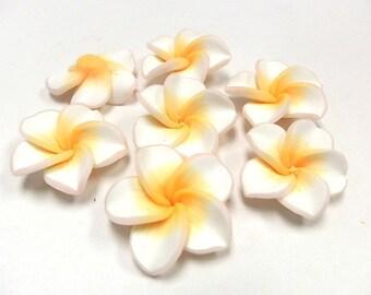 5 Fimo Polymer Clay  Plumeria Flower Fimo Beads 30mm White Yellow