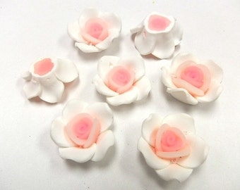 10 Fimo Polymer Clay White Pink  Flower Roses  Beads 25mm