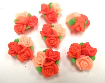 10 Fimo Polymer Clay Orange  Flower Fimo Beads Bouquet  25mm